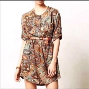Anthro holding horses brown paisley dress